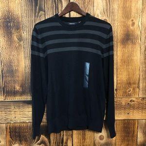 NWT Claiborne Striped Sweater Black/Gray Sz Small